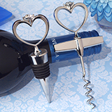 Bling a Diamond ring wine stopper and opener set