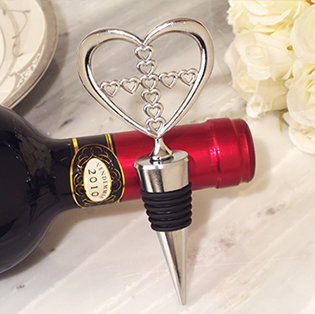 Unique Silver heart wine stopper with Cross design