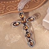 Stunning silver cross embellished with amber crystals