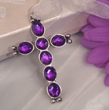 Blessed events silver cross with purple crystals