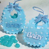Adorable blue Baby bib bag / holder