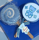 Lollipop towel favor blue teddy bear design
