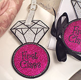 """First class"" Glitter Luggage tag"