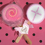 Lollipop towel favor pink Cross design