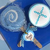Lollipop towel favor blue Cross design