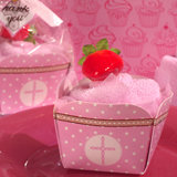 Cupcake towel favor pink Cross design