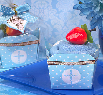 Cupcake towel favor blue Cross design