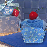 Cupcake towel favor blue Seashells design