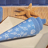 Ice cream towel favor blue Seashell design