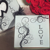 Stylish love glass coasters