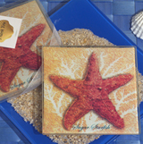 Starfish design glass coaster set
