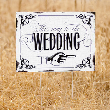 Vintage This way to the Wedding Yard Sign