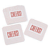 Cheers! Glitter Coasters. Package of 25.