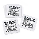 Celebrate Glitter Coasters. Package of 25.