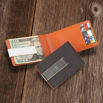 Personalized Metro Leather Wallet/Money Clip