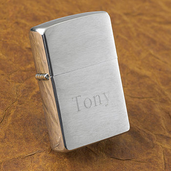 Personalized Brushed Chrome Zippo Lighter