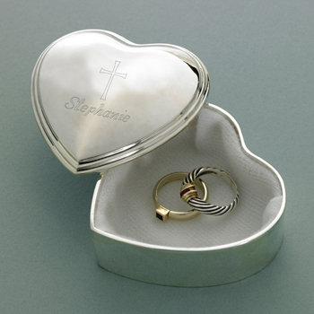 Inspirational Heart Trinket Box with Engraved Cross
