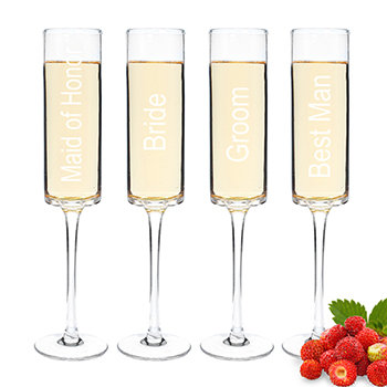 Wedding Party Contemporary Champagne Flutes (Set of 4)