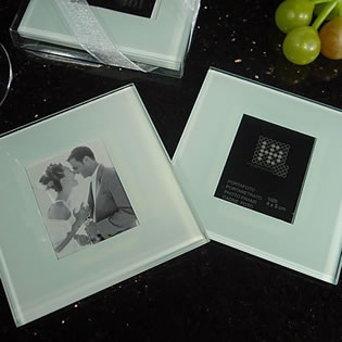 2 Piece Glass Photo Coaster Set Plain
