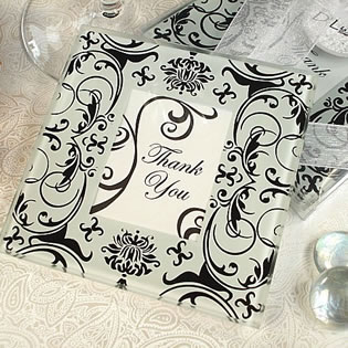 Black/White Damask Photo Coaster Set 2