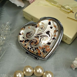 Murano Design Black White Gold Heart Shape Compact Mirror
