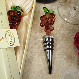 Murano Style Glass Bottle Stopper Grape