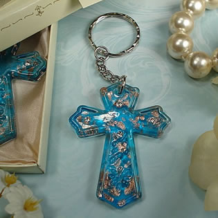 Murano Cross Keychain With Stones
