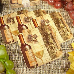 4Pc Wood Cork Coaster Set Tuscan Wine