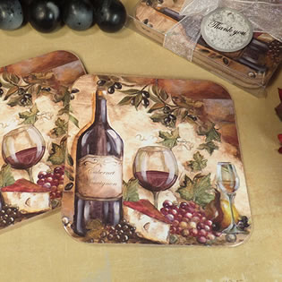 2Pc Wood Cork Coaster Set Tuscan Harvest Design