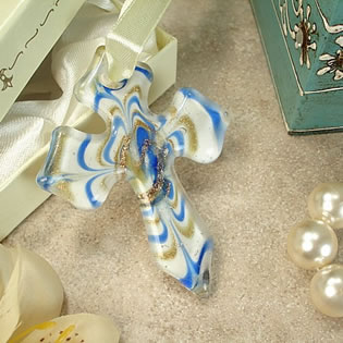 Murano Hanging Cross Contempo Blue White