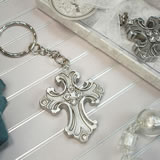 Antique Silver Design Cross Keychain