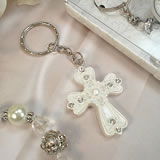 Shimmering White Design Cross Keychain