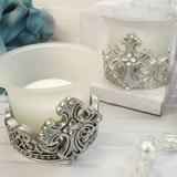 Antique Silver Design Cross Tealight Candle Holder