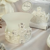 Shimmering White Design Cross Tealight Candle Holder