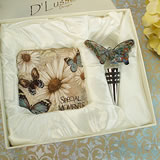 Murano Design Stopper With 2 Coaster Set Butterfly