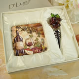 Murano Design Stopper With 2 Coaster Set Wine Cheese
