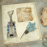 Murano Design Cork Screw,Stopper With 2 Coaster Set Beach