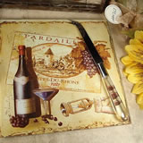 Cheese Board With Knife Antique Wine Design