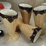 Set Of 4 Ceramic Waffle Cone Ice Cream Cup