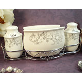 Salt/Pepper/Napkin Set W/Metal Stand Damask Design