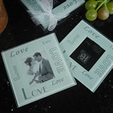 2 Piece Glass Photo Coaster Set Multi Love