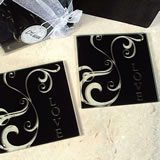 2 Piece Glass Coaster Set Black Swirl Love