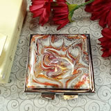 Murano Square Compact Mirror Burgundy Design