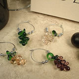 4Pc Wine Murano Style Glass Glass Charm Set Grapes