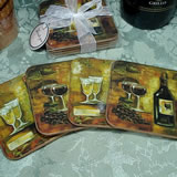 4Pc Wood Cork Coaster Set Wine