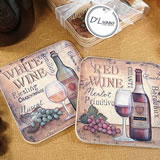 4Pc Wood Cork Coaster Set Antique White Wine