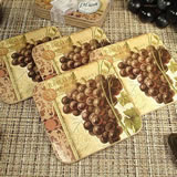 4Pc Wood Cork Coaster Set Grapes