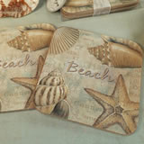2Pc Wood Cork Coaster Set Beach Design