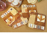 4Pc Wood Cork Coaster Set Fall In Love