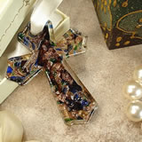 Murano Hanging Cross Classic Blue Speckle